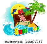 sun lounger   beach umbrella ... | Shutterstock .eps vector #266873756