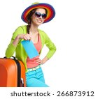 portrait of female tourist with ... | Shutterstock . vector #266873912