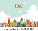 italy skyline. vector... | Shutterstock .eps vector #266892485