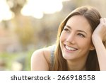 woman with white teeth thinking ... | Shutterstock . vector #266918558