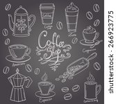 hand drawn coffee doodles set | Shutterstock .eps vector #266923775