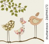 Cute Floral Birds On Branch