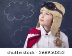 young girl wearing aviator... | Shutterstock . vector #266950352