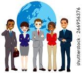 global multi ethnic team of... | Shutterstock .eps vector #266956376