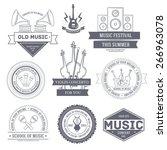 music set label template of... | Shutterstock .eps vector #266963078