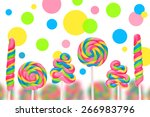 fantasy sweet candy land with... | Shutterstock . vector #266983796