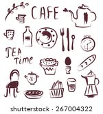 cafe design elements set  ... | Shutterstock .eps vector #267004322