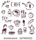 cafe design elements set  ... | Shutterstock .eps vector #267004322