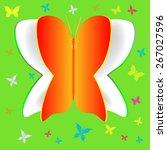 paper butterfly on green... | Shutterstock .eps vector #267027596