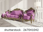 classic interior with armchair... | Shutterstock . vector #267041042