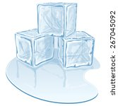 blue half melted ice cube pile. ... | Shutterstock .eps vector #267045092
