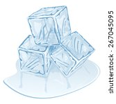blue half melted ice cube pile. ... | Shutterstock .eps vector #267045095