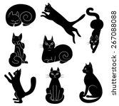 Stock vector vector illustration set of contours stencils cats 267088088