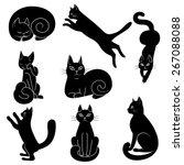 Stock vector vector illustration set of contours stencils cats 267088088
