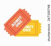 two vintage cinema tickets.... | Shutterstock .eps vector #267100748