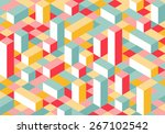 Modern Flat Isometric Background. Colorful Vector Texture with Parallelepipeds.