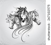 Stock vector heads of horse are in a decorative pattern 267102575