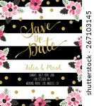 vintage wedding invitation with ... | Shutterstock .eps vector #267103145