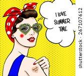 woman in heart shape sunglasses ... | Shutterstock . vector #267107612