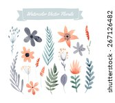set of handpainted watercolor... | Shutterstock .eps vector #267126482
