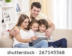 happy to be a family. portrait... | Shutterstock . vector #267145568
