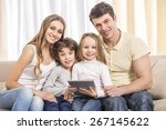 happy to be a family. portrait... | Shutterstock . vector #267145622