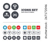 volleyball and net icons.... | Shutterstock .eps vector #267172046