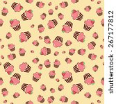 cupcake retro fabric   colorful ... | Shutterstock .eps vector #267177812