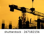 silhouette of construction... | Shutterstock . vector #267182156