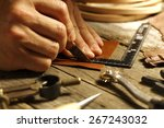handmade leather  like the old... | Shutterstock . vector #267243032