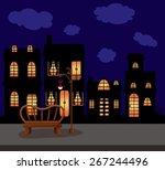 illustration of city scape dark ... | Shutterstock .eps vector #267244496