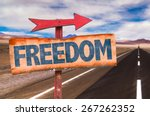 freedom sign with road... | Shutterstock . vector #267262352