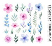 watercolor flowers | Shutterstock . vector #267269786