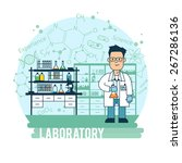 scientist in laboratory... | Shutterstock .eps vector #267286136