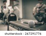 closeup of microphone on... | Shutterstock . vector #267291776