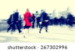 business people rush hour... | Shutterstock . vector #267302996