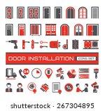 set of door equipment  icons | Shutterstock .eps vector #267304895