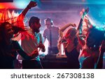 Stock photo group of dancing friends enjoying night party 267308138