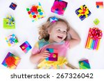 happy laughing little girl ... | Shutterstock . vector #267326042