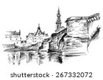 black and white drawing dresden ... | Shutterstock . vector #267332072
