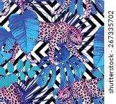 tropical summer floral safari...   Shutterstock .eps vector #267335702