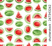 watercolor watermelon pattern.... | Shutterstock .eps vector #267343262