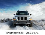 suv on a rural snowy frosted... | Shutterstock . vector #2673471