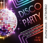 disco dance party poster with... | Shutterstock .eps vector #267364862