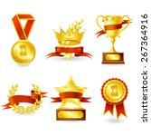 golden trophy and prize emblem... | Shutterstock .eps vector #267364916