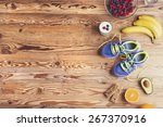 pair of running shoes and... | Shutterstock . vector #267370916