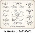 calligraphic design elements... | Shutterstock .eps vector #267389402