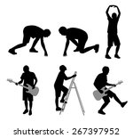 people in action silhouette  | Shutterstock . vector #267397952