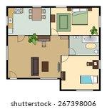 flat scheme with furniture | Shutterstock . vector #267398006