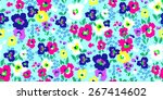 painted flowers seamless vector ... | Shutterstock .eps vector #267414602